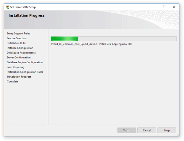 Selected features and configuration of the SQL server are being installed