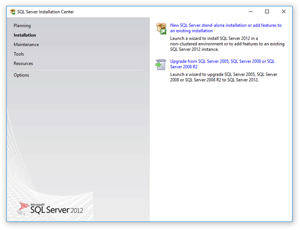 Welcome page of the setup wizard of Microsoft SQL Server 2012 Express Edition